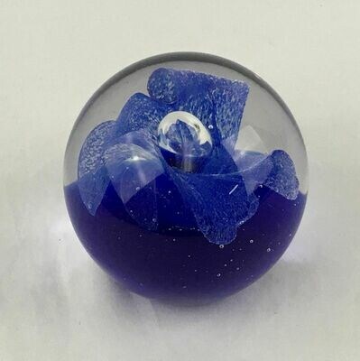 Art Glass Paperweight with Cobalt Blue Flower and Large Controlled Bubble