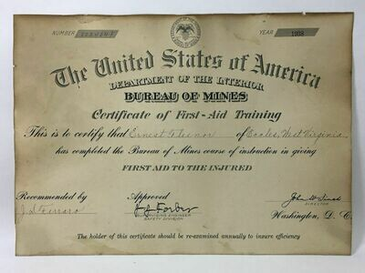 1938 Bureau of Mines Certificate of First-Aid Training - Eccles, WV