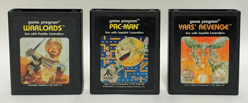 Atari 2600 Lot of 3 Video Game Cartridges – Warlords, Pac-Man, Vars' Revenge