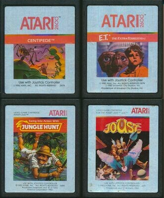 Atari 2600 LOT of 4 Video Cartridges - Jungle Hunt, Joust, Centipede, E.T.