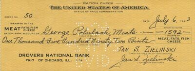 WWII Ration Check - Drovers National Bank Chicago July 6 1943 Historical Item