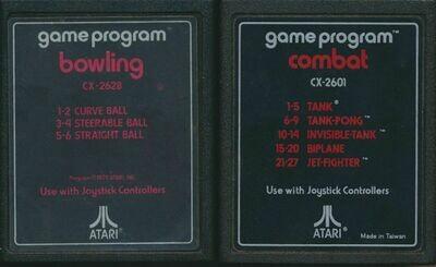 Atari 2600 LOT of 2 Video Cartridges - Bowling and Combat