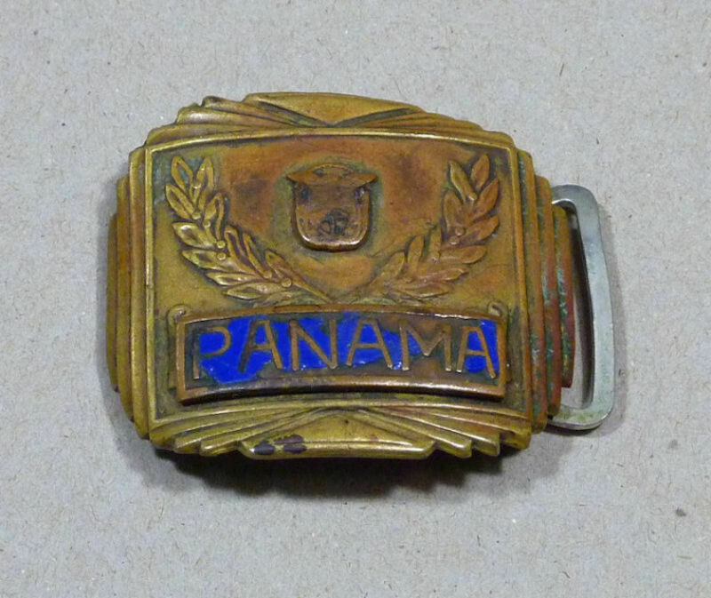 Vintage 1940s Naval Panama Belt Buckle Brass
