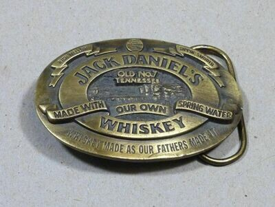 Jack Daniel's Brass Belt Buckle 1989 Old No. 7 Tennessee Whiskey