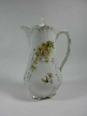 Vintage Furstenberg Brunswick Germany Hand Decorated Porcelain Chocolate Pot with Lid.