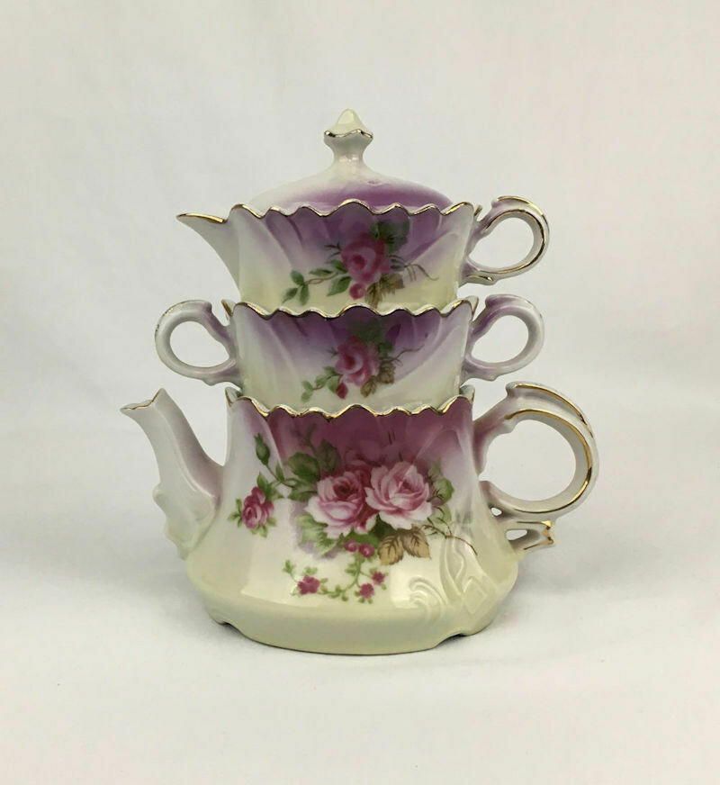 Lefton Stacked Heavenly Rose Teapot Set No. 20596 – 1956