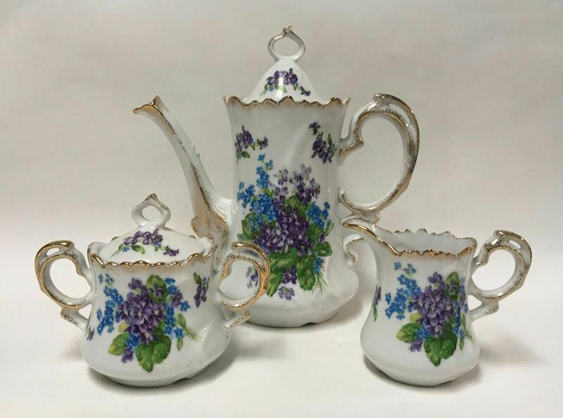Rare Lefton Spring Bouquet Coffee Pot Sugar Creamer Set 4580 & 4581