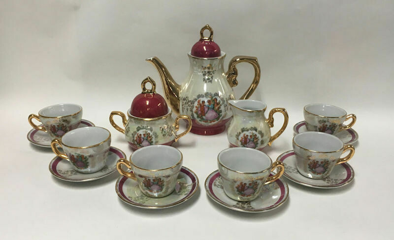 Demitasse Tea Service For 6 With Iridescent Glaze and Gold Trim c1950s.