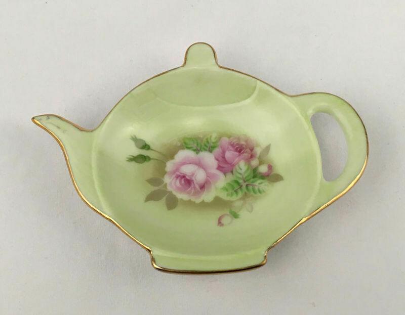 Lefton Green Heritage Teabag Holder 12368 W/Red Tag No.12368