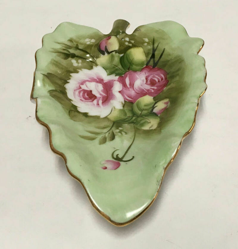 Lefton China Green Heritage # 1850 Hand Painted Leaf Dish
