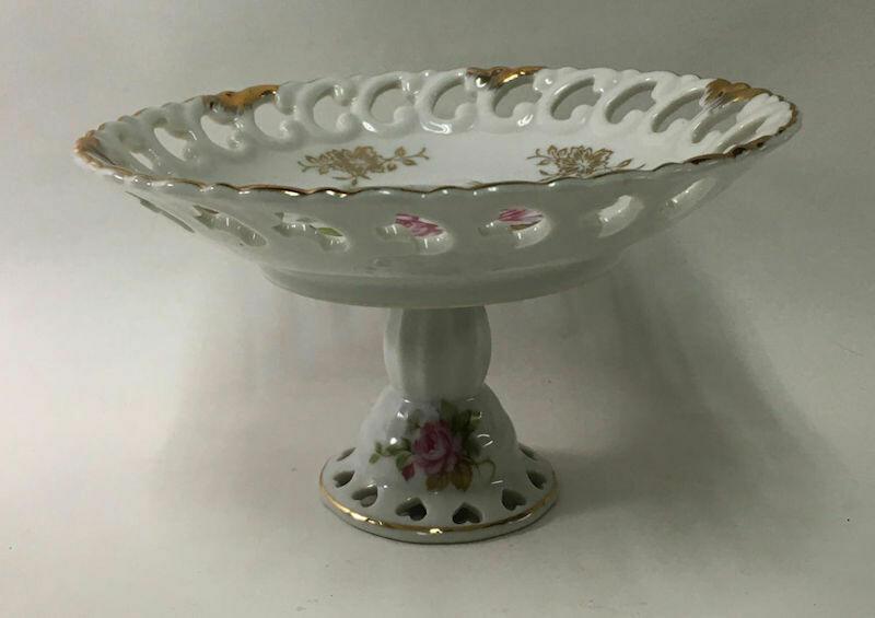 Vintage Lefton China NE 712 Floral Pedestal Bowl Compote Dish Hand Painted (1949-1955)