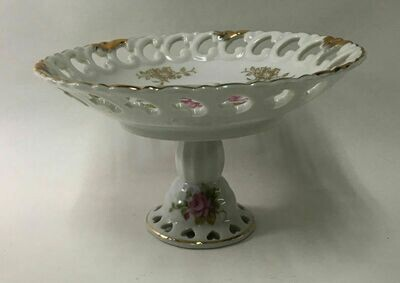 Vintage Lefton China NE 712 Floral Pedestal Bowl Compote Dish Hand Painted (1949-1955)