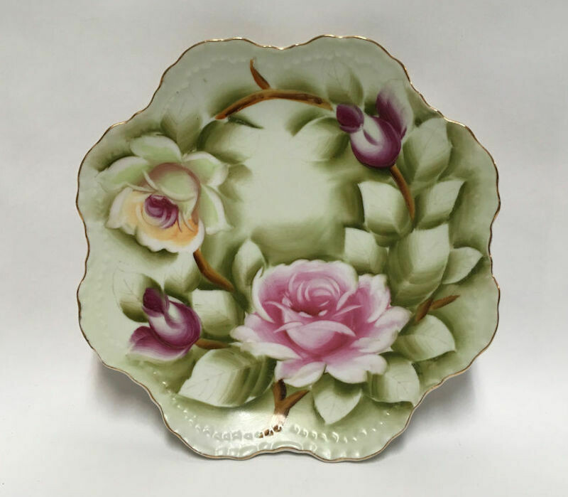 """Lefton China 8"""" Hanging Plate #119 - Hand painted, Heritage Rose"""