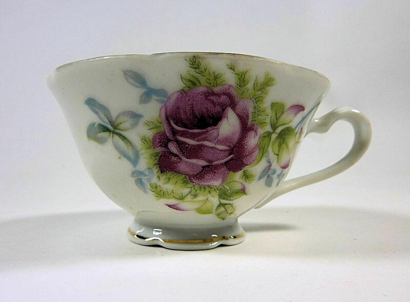 Lefton China Cup - Hand Painted Red Rose and Green Leaves