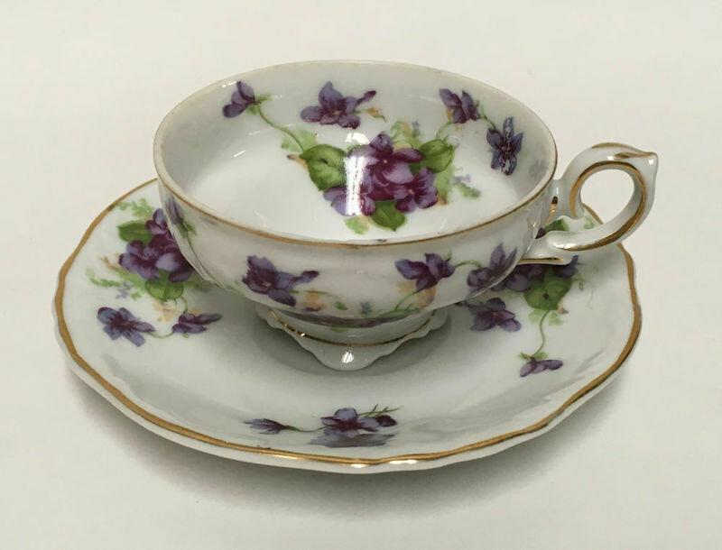 Lefton China Demitasse Cup and Saucer Set Sweet Violets Gold Trim