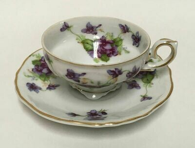 Lefton China Demitasse Cup and Saucer Set Sweet Violets Gold Trim