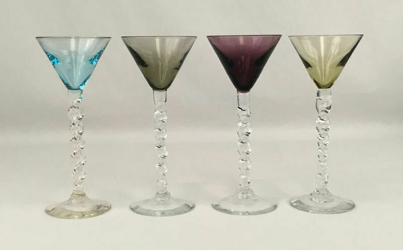 Colorful 4 Piece Assortment Twisted Stem Cordial Glasses.