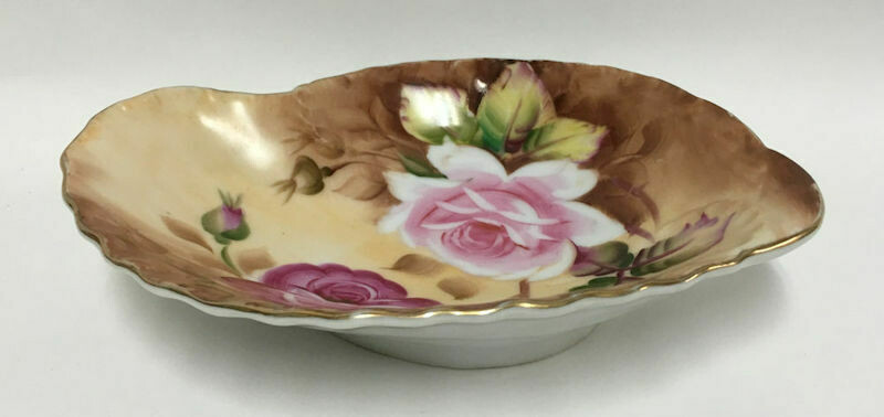 Lefton 20/276 Bon Bon Dish Heritage Brown (Floral) (1949-1955)