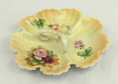 Lefton 5204 Divided Candy Tray W Handle Pink Roses Hand-Painted