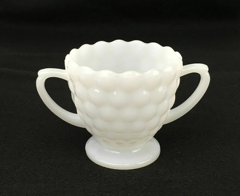 White Milk Glass Sugar Bowl Bubble Design