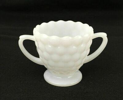 White Milk Glass Sugar Bowl Bubble Design