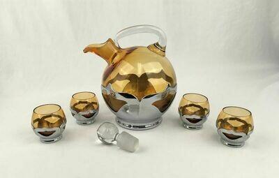 Art Deco Chrome & Amber Glass Decanter and 4 Short Cordials Cambridge Farber Bros. Krome Kraft – 1924