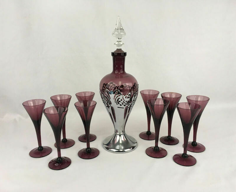 Art Deco Cambridge Farber Bros. Glass Decanter Wine Set Amethyst - Chrome - 1930s/40s.