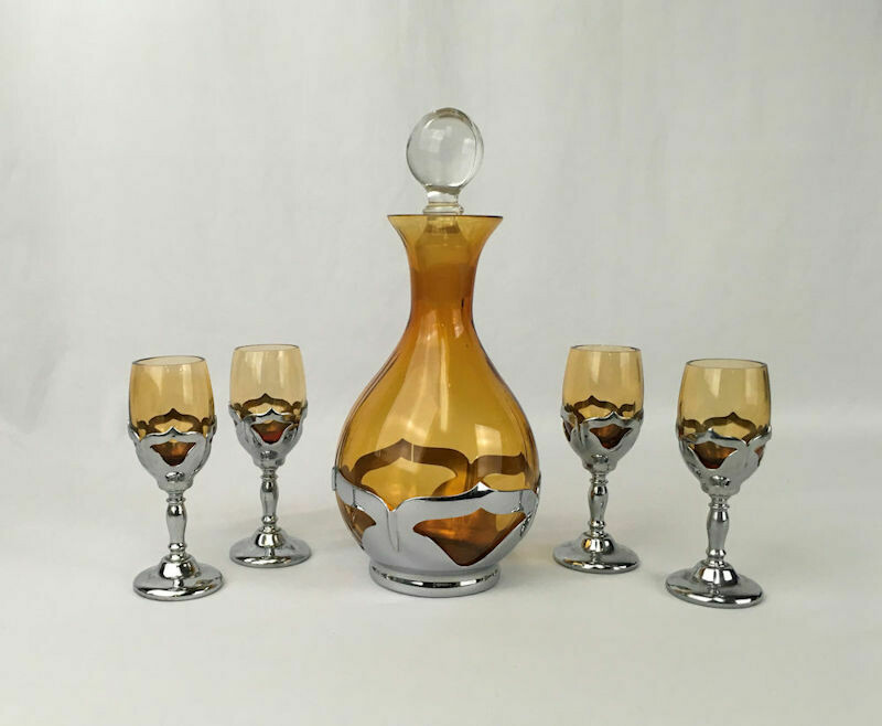 MCM -Art Deco Amber Glass & Chrome Decanter with 4 Cordials Farber Bros