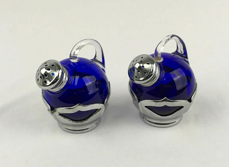 Art Deco Cambridge Farber Cobalt Glass & Chrome Salt & Pepper Shakers