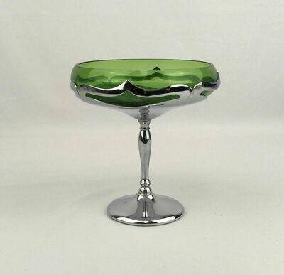 Art Deco Emerald Green Compote Cambridge Farber Bros. Krome Kraft – 1924