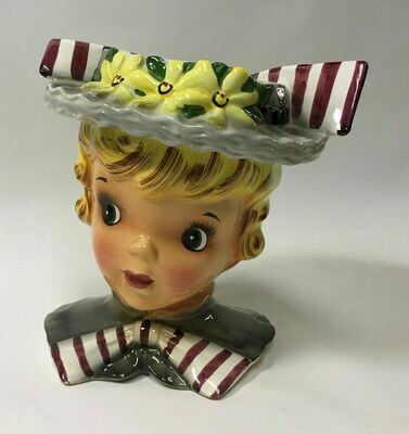 Captivating Expression Blond Girl Head Vase Flowered Hat Striped Bows - c1960s