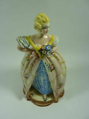 Lady With Flowers Figurine - Marked Italy