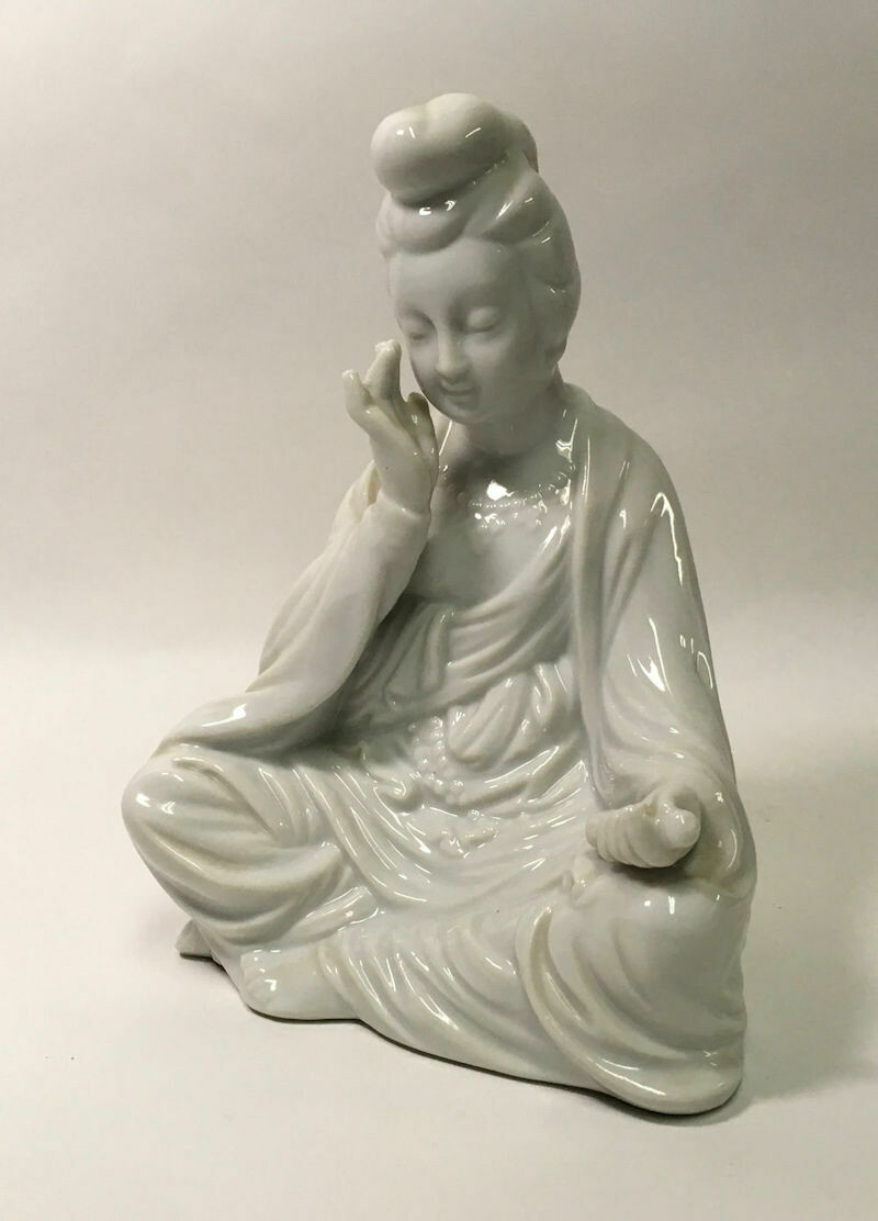 White Porcelain Figurine Sitting Woman Japan