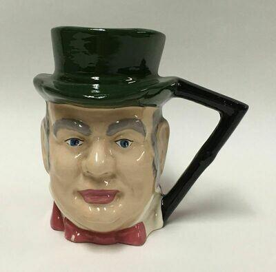Vintage Glazed Top Hat Face Ceramic Mug Signed by Artist E. Berger Feb 1958