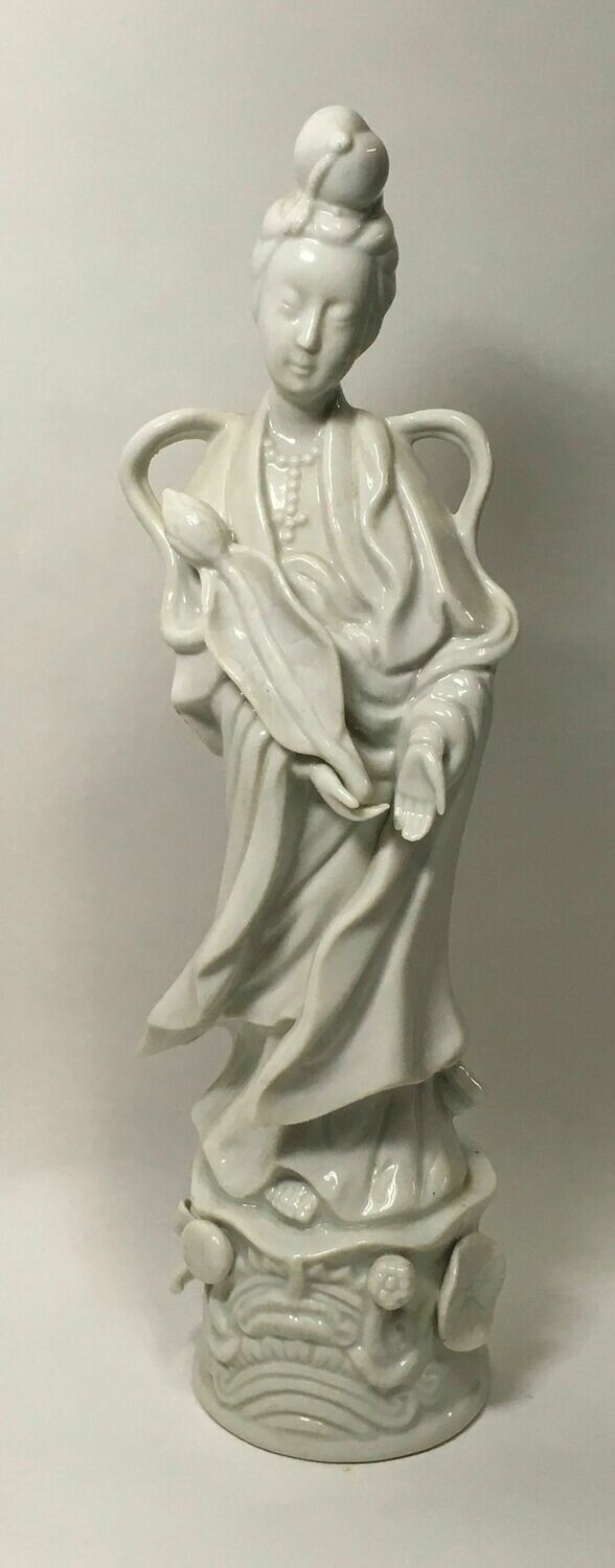White Porcelain Figurine of Standing Woman on Pedestal - HOMCO Taiwan