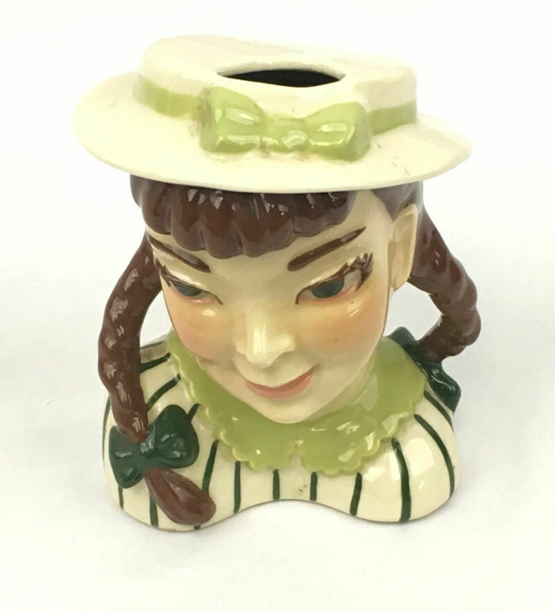 Ceramic Arts Studio Head Vase Pigtails With Green Eyes Brown Hair - 1942-1956