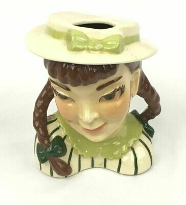 Ceramic Arts Studio Head Vase Pigtails With Green Eyes Brown Hair - 1942-1956