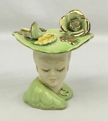 Head Vase Light Green with Gold Trim 1940s-1950s