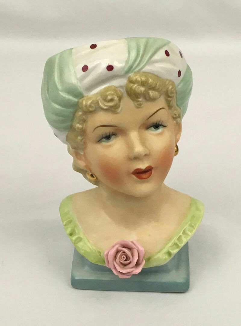 "Ucagco Head Vase with Polka Dotted Turban 1950s Japan 6.5"" Tall"