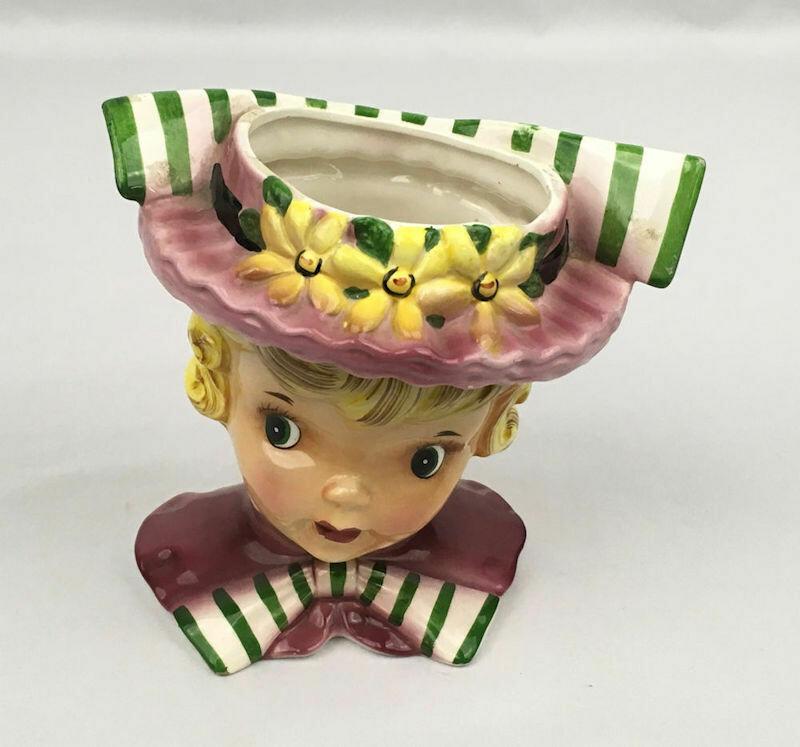 Blond Girl Head Vase Flowered Hat Green & White Striped Bows - c1960s
