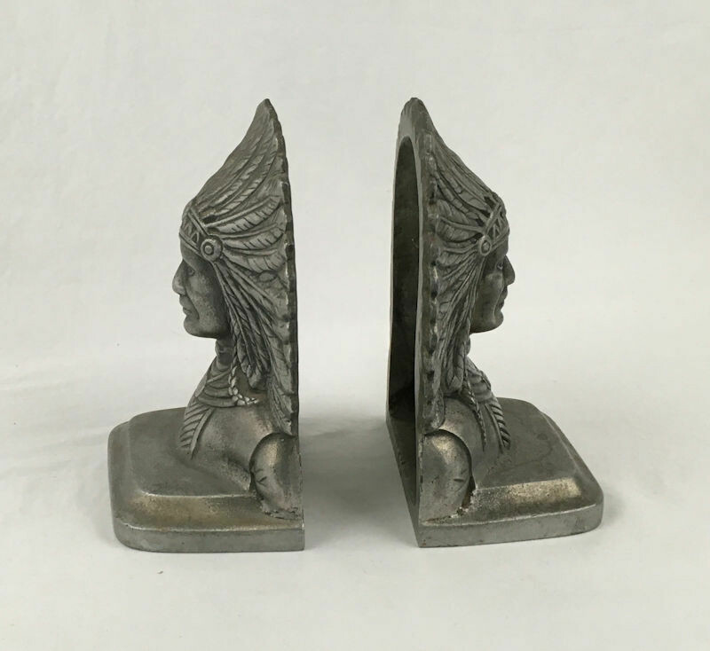 Vintage Native American Indian Chief Cast Non-Magnetic Metal Bookend Pair