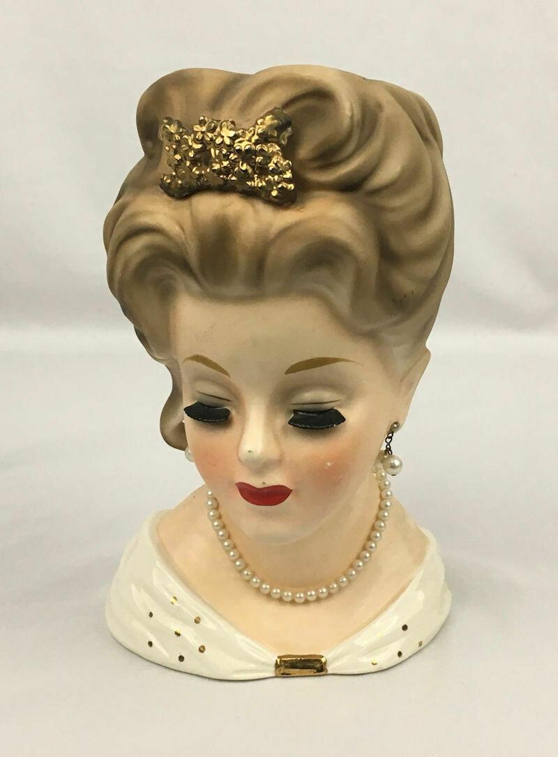 "Princess Grace Kelly Head Vase w/ Faux Pearls E-1068 INARCO 10"" H - 1963"