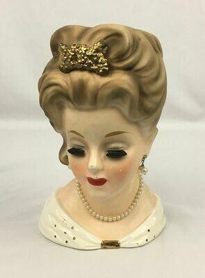 Princess Grace Kelly Head Vase w/ Faux Pearls E-1068 INARCO 10
