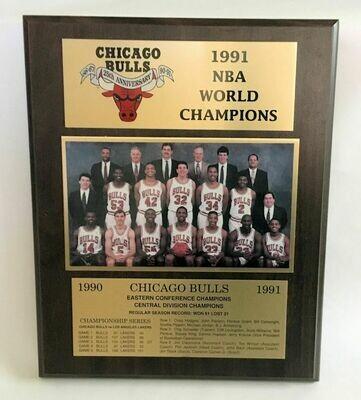 1991 NBA World Champions Chicago Bulls Plaque