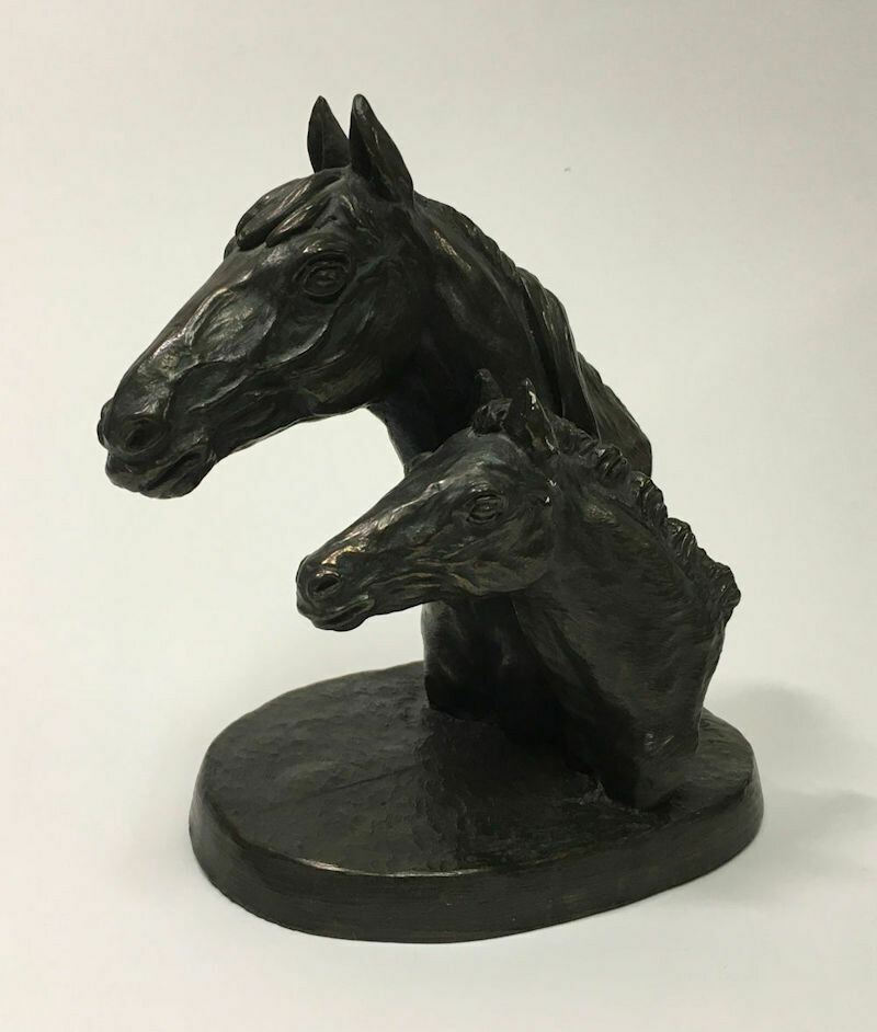 Irish Mare and Foal Horse Cold Cast Bronze Jeanne Rynhart Signed E/850