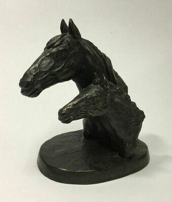 Irish Mare and Foal Horse Cold Cast Bronze Jeanne Rynhart Signed E/850