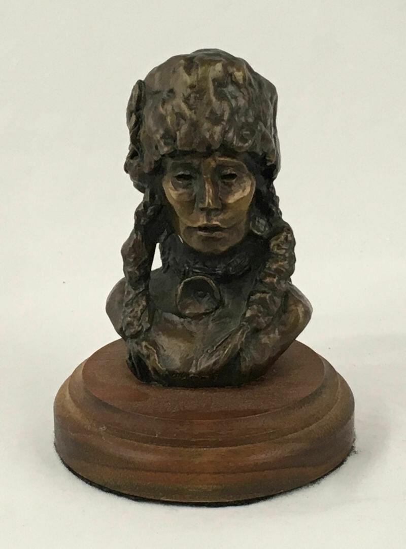 Native American Bronze Indian Bust 'Blood Warrior' #32/35 1976 Nancy Powell McLaughlin
