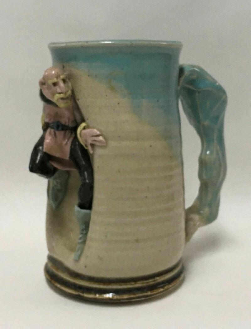Handcrafted Glazed Pottery Whimsical Fantasy Swordsman Mug Signed GUBE 89