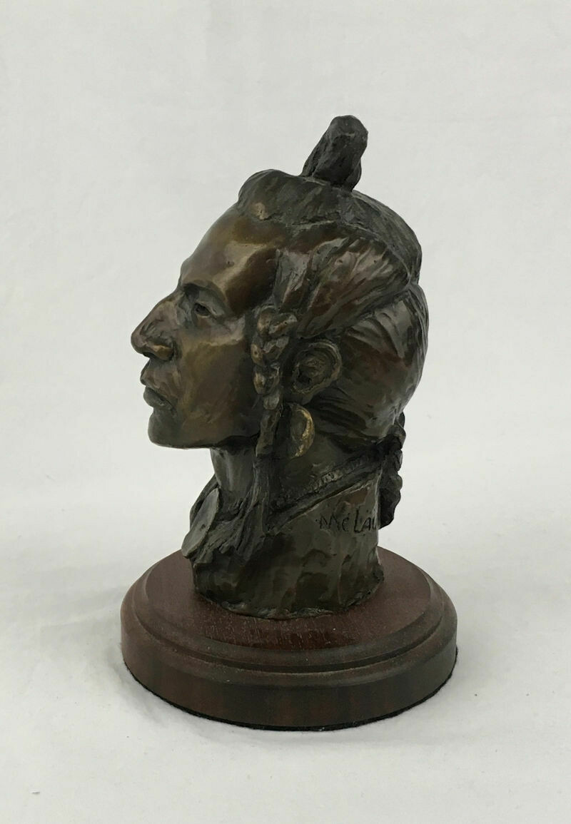 Native American Bronze Indian Bust 'Piegan Head' #30/30 1967 Nancy Powell McLaughlin