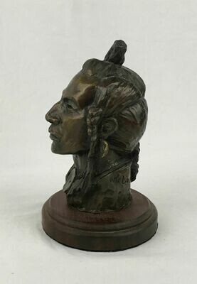Native American Bronze Indian Bust 'Piegan Head' #30/30 1967 Nancy Powell McLaughlin